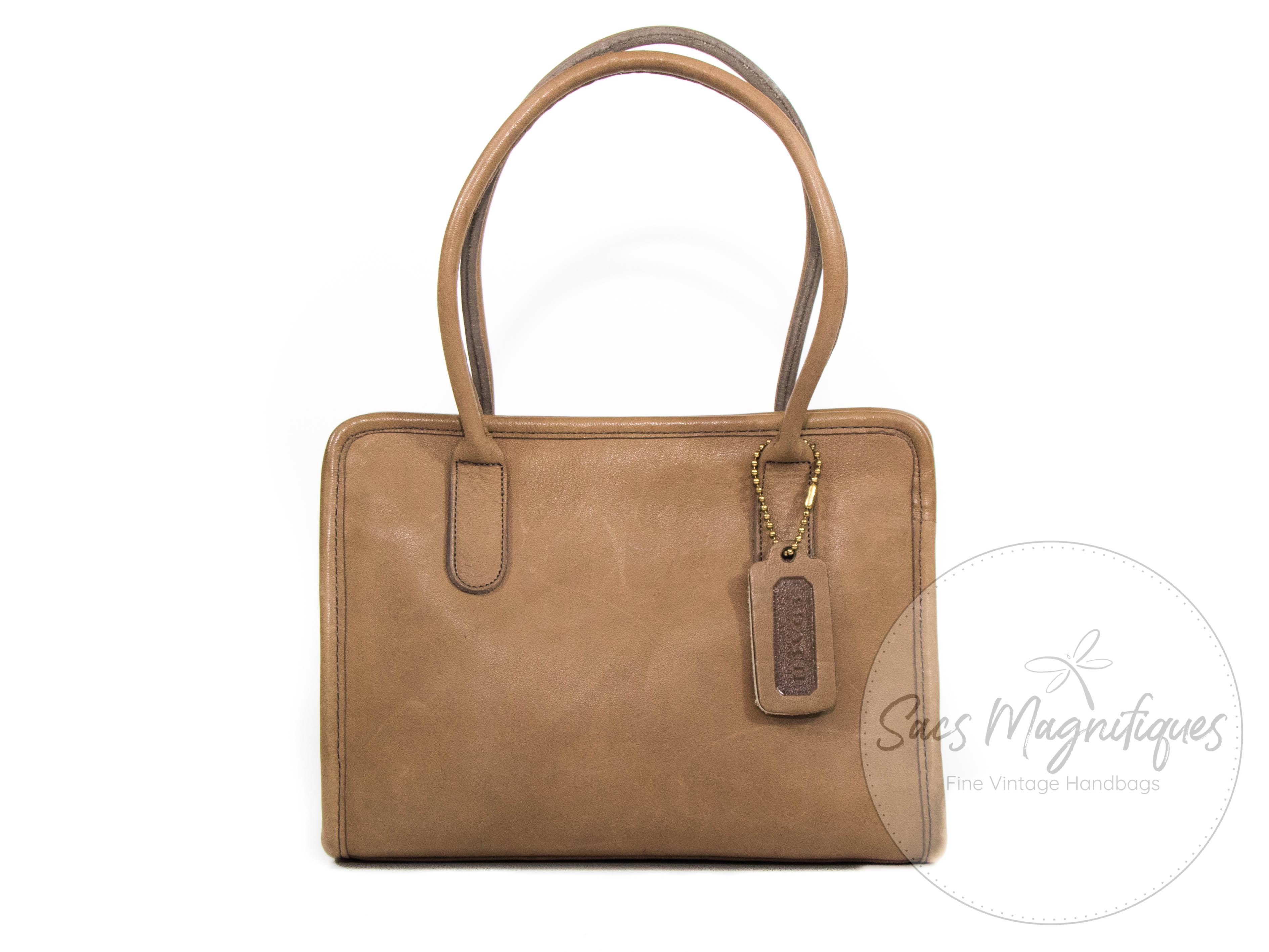 Vintage Coach Market Y Tote Bag Tan Leather Euc Nyc