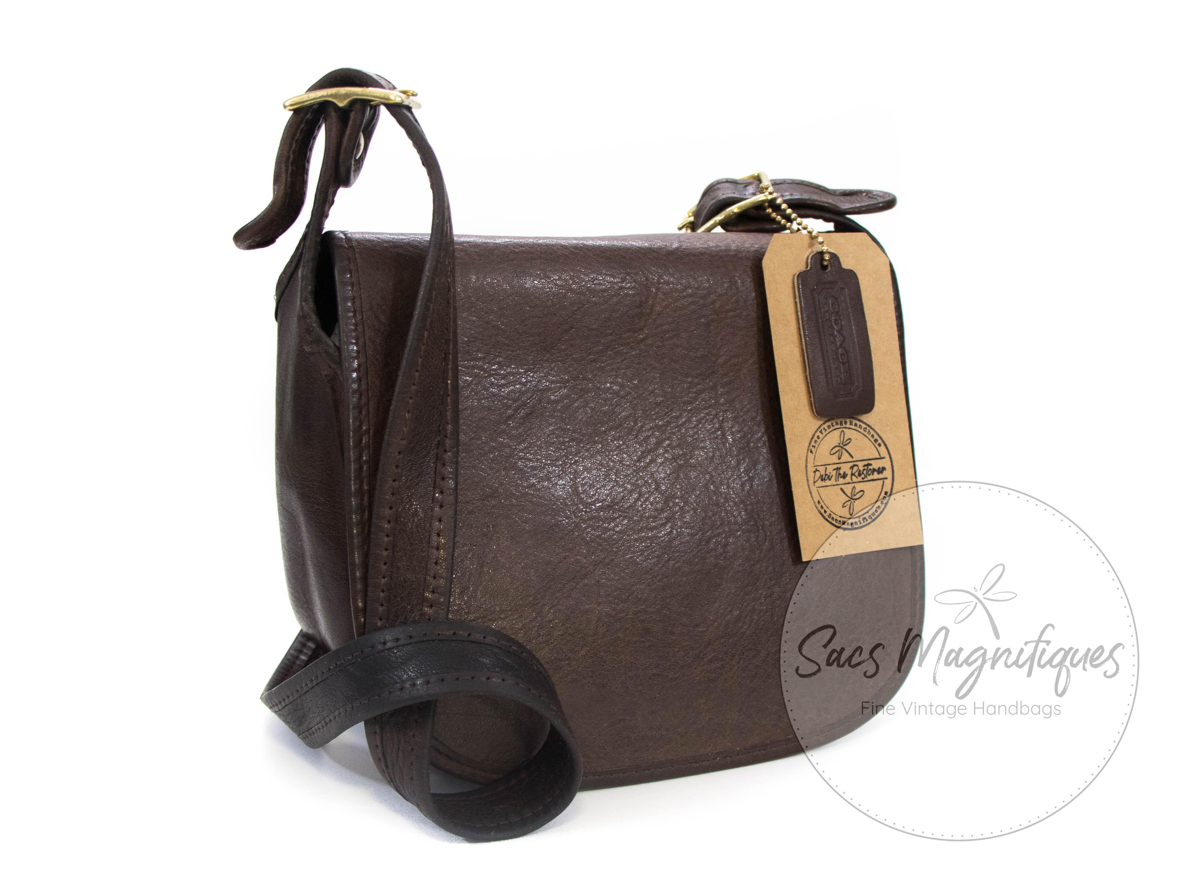 Vintage Coach Saddle Flap Mocha Brown Leather Bonnie Cashin