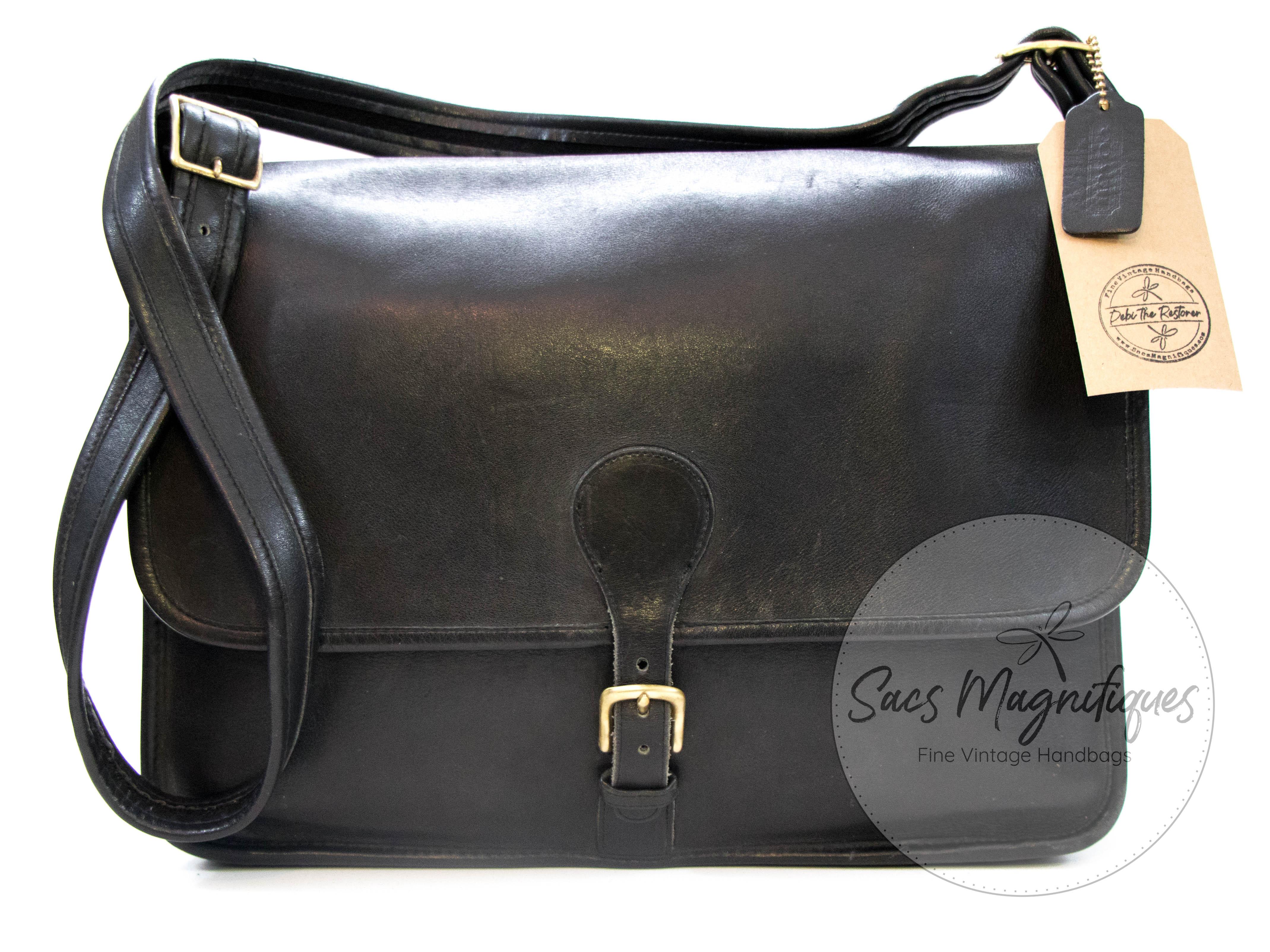 a288cecc04429 Vintage Coach Letter Brief Unisex Briefcase Laptop Bag Black Leather ...